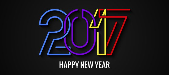 Happy New Year 2017 Text Label Design Background 10 eps